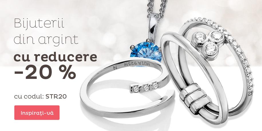 Reducere de 20% pe bijuterii de argint în stoc.